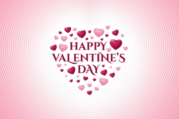 Happy valentine's day greeting card with heart shape