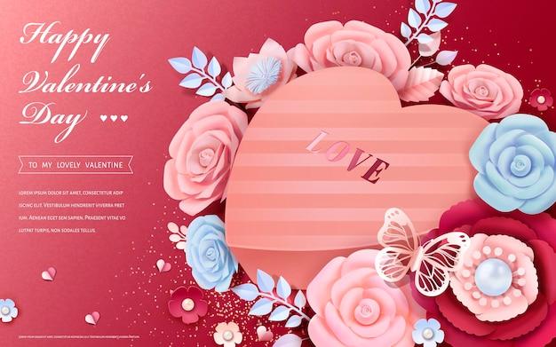3dスタイルの紙の花の装飾が施されたハート型のギフトボックスと幸せなバレンタインデーのグリーティングカード