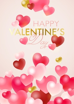 Happy valentine's day greeting card with heart shaped glass baubles on light pink background
