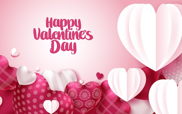 Happy valentine's day greeting card with hearts