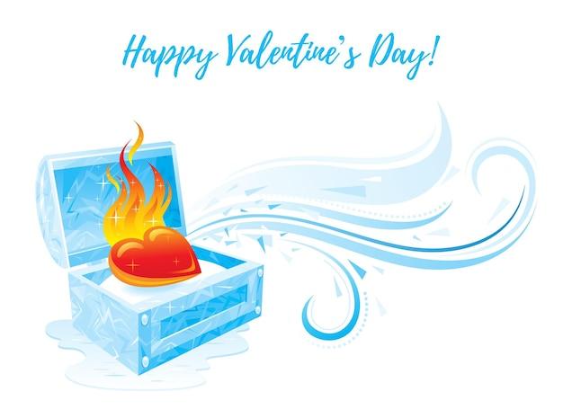 С днем святого валентина поздравительная открытка с ледяной коробкой и горящим сердцем.