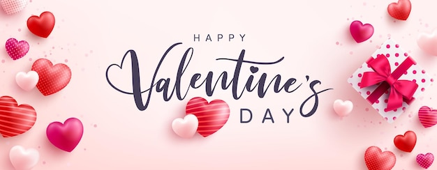 Happy valentine's day greeting card with lettering