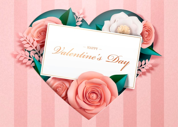 Happy valentine's day greeting card with paper blossoms and card template in 3d style