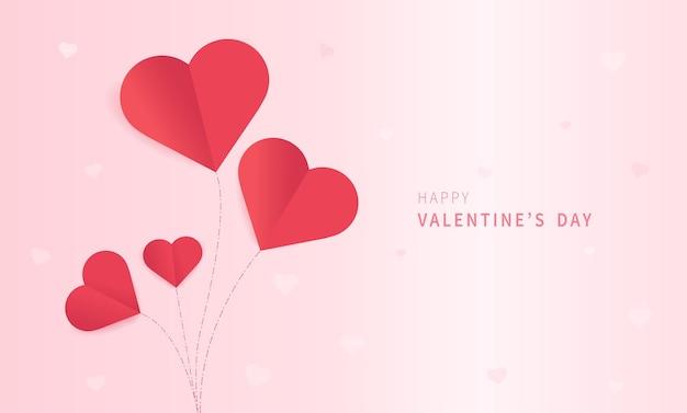 ハートの紙カットと幸せなバレンタインデーのグリーティングカード