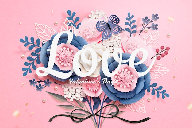 Happy valentine's day greeting card with paper flowers boutique in 3d style
