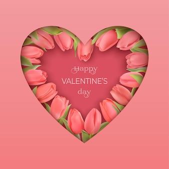 ピンクの写実的なチューリップと幸せなバレンタインデーのグリーティングカード。影付きのペーパーカットスタイルのピンクのハート。おめでとうテキストハッピーバレンタインデー。