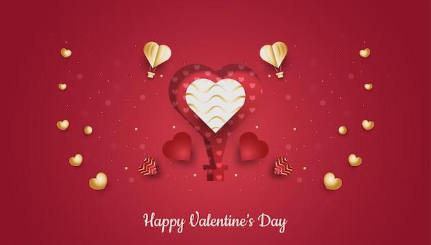 빨간색과 금색 하트 흩어져있는 해피 발렌타인 데이 인사말 카드