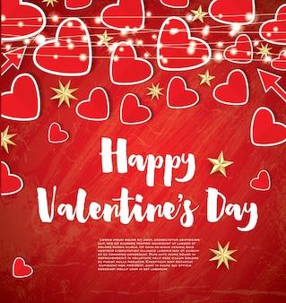 赤いハートとネオンの花輪と幸せなバレンタインデーのグリーティングカード。ベクトルイラスト。