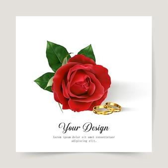 幸せなバレンタインデー。赤いバラのグリーティングカード