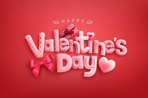 Happy valentine's day greeting card with wording