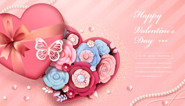 Happy valentine's day greeting cardwith paper flowers in heart shaped gift box, 3d illustration