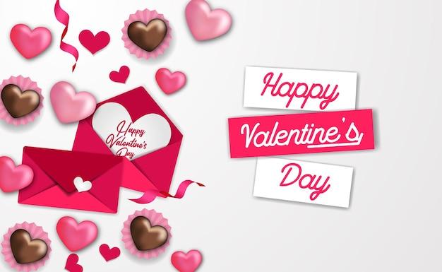 Шаблон поздравления с днем святого валентина с сердечком и любовным письмом в конверте с белым фоном