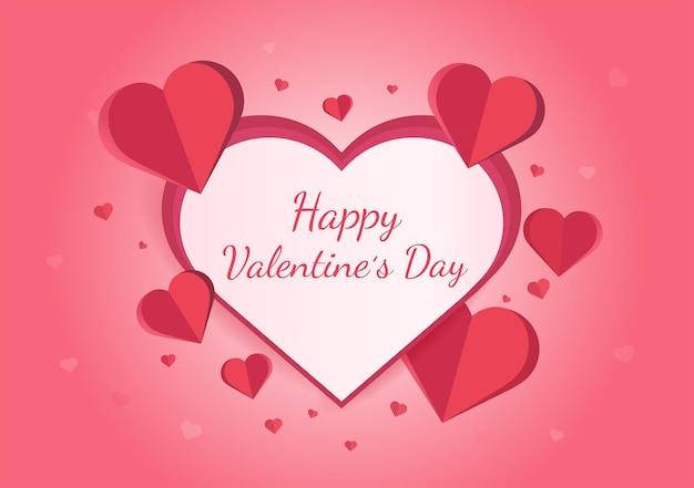 Дизайн поздравительной открытки с днем святого валентина с бумажными сердечками