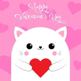 Поздравления с днем святого валентина от милого кота с сердечком на розовом фоне. карты любви. векторная иллюстрация. eps 10