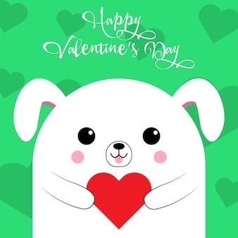緑の背景にハートのかわいい犬からの幸せなバレンタインデーの挨拶。愛のカード。ベクトルイラスト。 eps 10