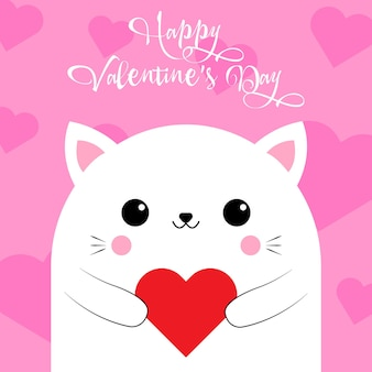 Happy valentine's day greetings from a cute cat with a heart on a pink background. love card. vector illustration. eps 10