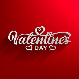 Happy valentine's day hand drawn lettering. ready text with falling shadow for print design. calligraphy inscription.