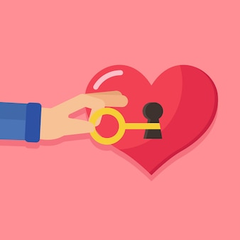 Happy valentine's day,hand holding the big key with keyhole