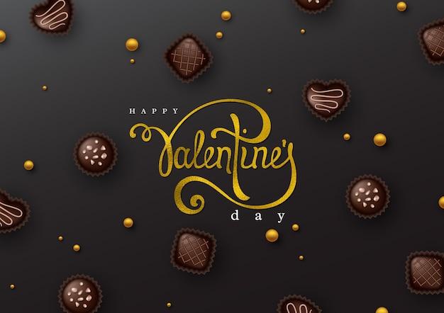 С днем святого валентина почерк сценария надписи с эффектом блестящей фольги и 3d шоколадных конфет.