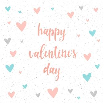 幸せなバレンタインデー。白で隔離の手書きのレタリング。デザインtシャツ、カード、バレンタインデーの招待状、愛のポスター、パンフレット、アルバム、スクラップブックなどの手作りの見積もりとハートを落書きします。