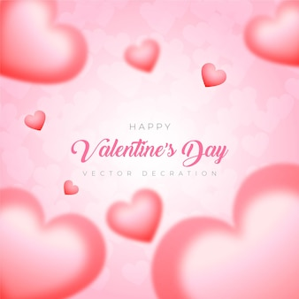 С днем святого валентина воздушный шар на розовом фоне premium векторы