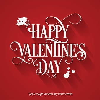 Happy valentine's day holiday card on red background