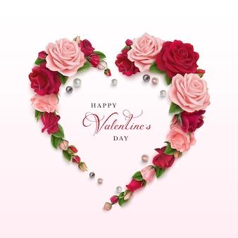 핑크색과 붉은 장미와 해피 발렌타인 수평 인사말 카드.