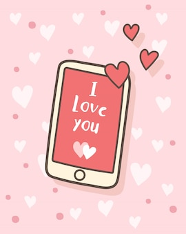 Happy valentine's day i love you message on smartphone