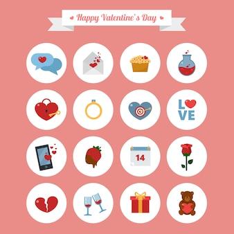 Happy valentine's day icons set