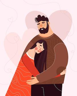 幸せなバレンタインデーのイラスト。花の後ろにキス愛のかわいいロマンチックなカップル