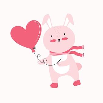 幸せなバレンタインデーのイラスト。ハートの形をした風船とピンクのウサギ