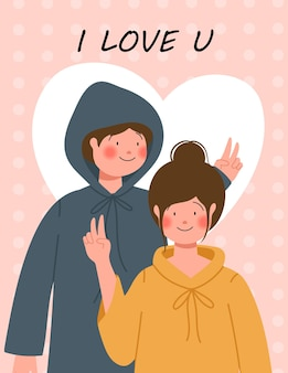 Happy valentine's day illustration with cute couple