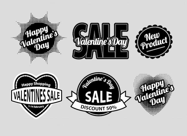 Happy valentine's day label badges