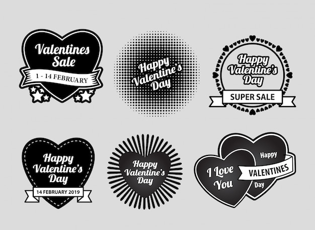 Happy valentine's day label badges
