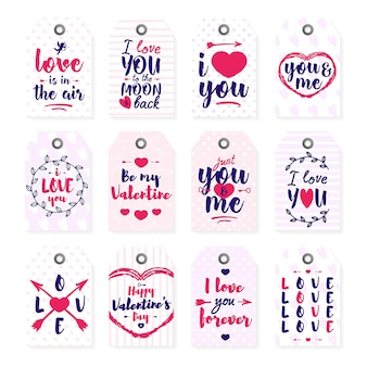 Happy valentine's day label set with lettering typography text sign on white background