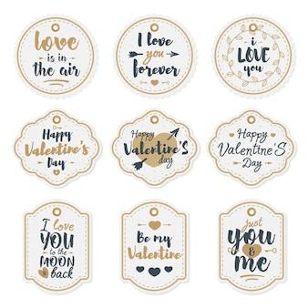 해피 발렌타인 데이 라벨은 사랑스러운 축하 레터링 타이포그래피 골드 스타일로 설정