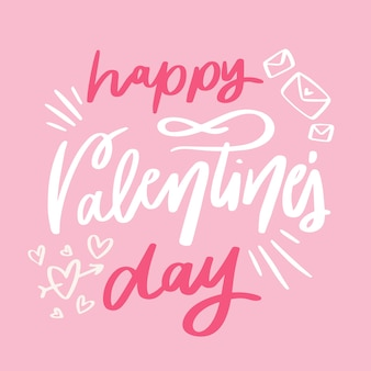 Happy valentine's day lettering with drawings