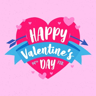 Happy valentine's day lettering with heart