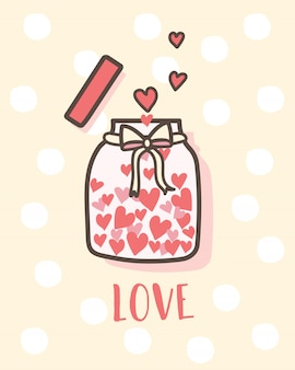 Happy valentine's day love bottle with hearts inside