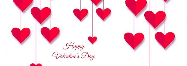 Happy valentine's day love card header design illustration