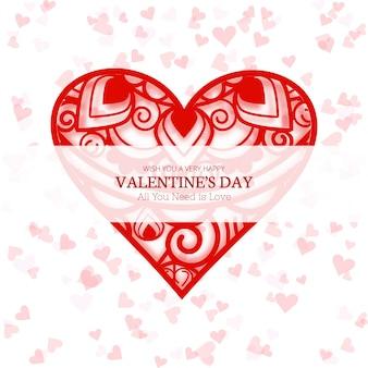 Happy valentine's day love card heart design illustration