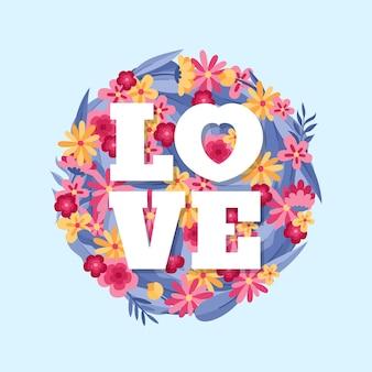 Happy valentine's day  love flat background