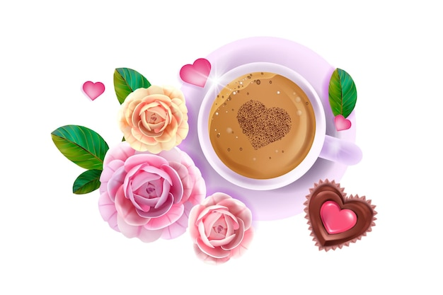 Happy valentine's day love flat lay card with pink roses, flowers, coffee cup,heart-shaped chocolate cake. romantic holiday surprise breakfast layout with hot latte.
