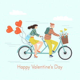 Happy valentine's day. man and woman riding a tandem bike. cute vector illustration in flat cartoon style.