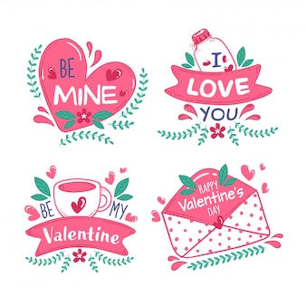 Happy valentine's day message like as be my valentine, be mine, i love you font with hearts, coffee cup, jar and envelope on white background.