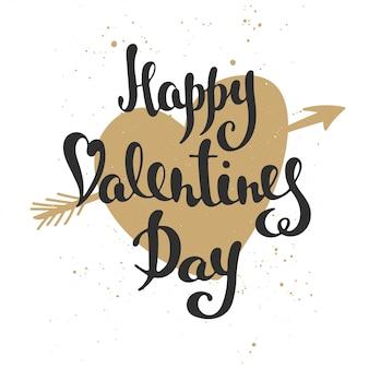 Happy valentine's day, modern brush calligraphy