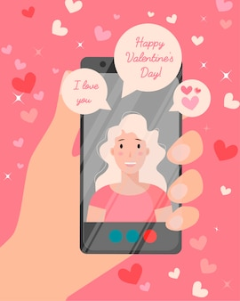 해피 발렌타인 데이 온라인 카드. 전화 통화하는 사랑에 소녀입니다.