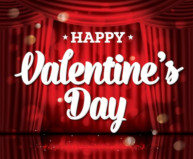 Happy valentine's day. open red curtains with neon lights and copy space. vector illustration. theater, opera or cinema scene. light on a floor