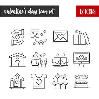 Happy valentine's day outline 12 icon set