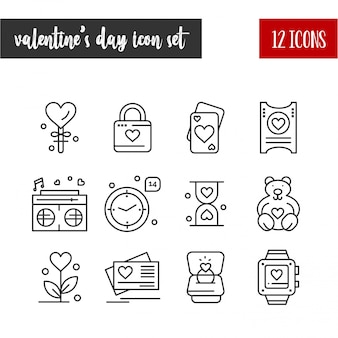 Happy valentine's day outline 12 icon set